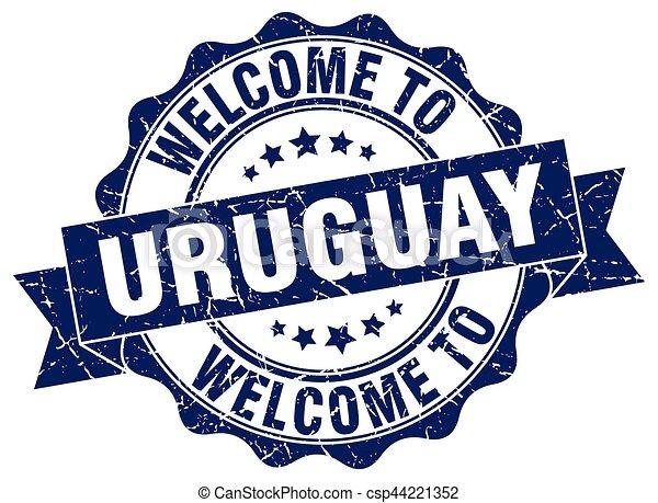 uruguay, rotondo, nastro, sigillo - csp44221352