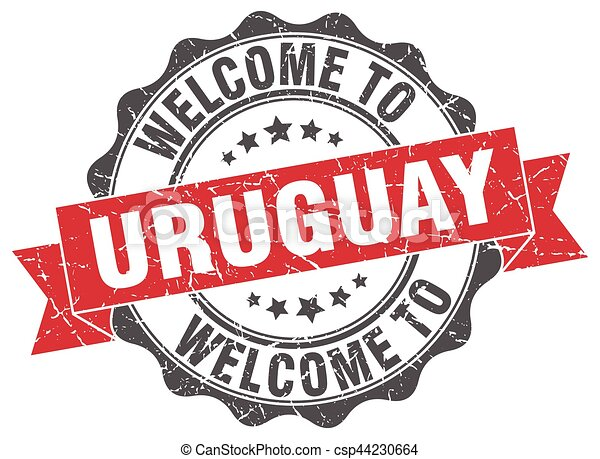 uruguay, rotondo, nastro, sigillo - csp44230664