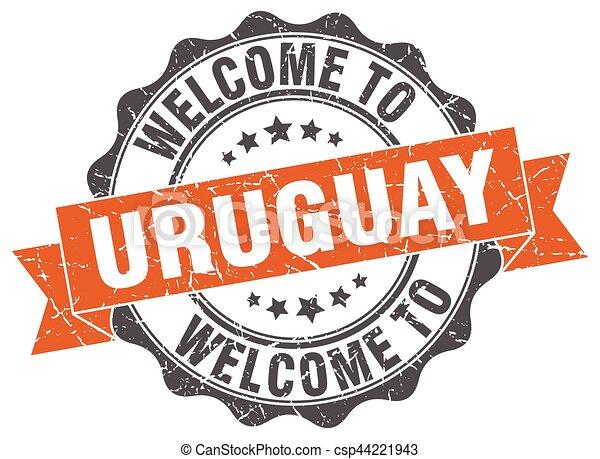 uruguay, rotondo, nastro, sigillo - csp44221943