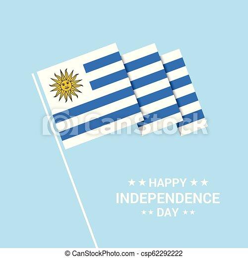 uruguay, tipografico, bandiera, vettore, disegno, giorno, indipendenza - csp62292222