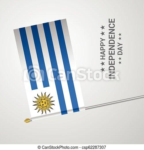 uruguay, tipografico, bandiera, vettore, disegno, giorno, indipendenza - csp62287307