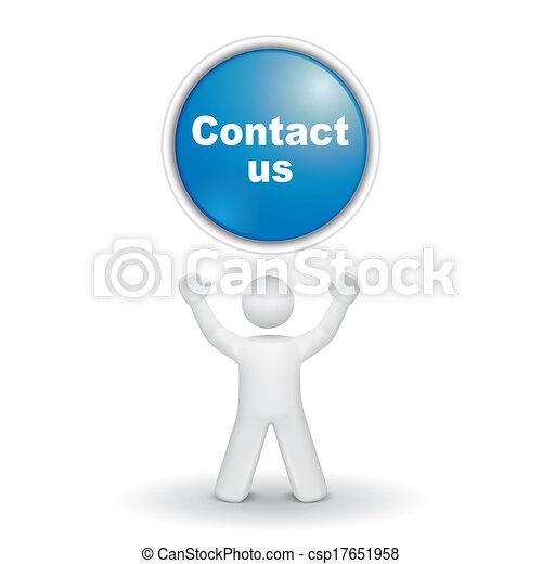 """us"""", """"contact, su, dall'aspetto, persona, bottone, 3d - csp17651958"""