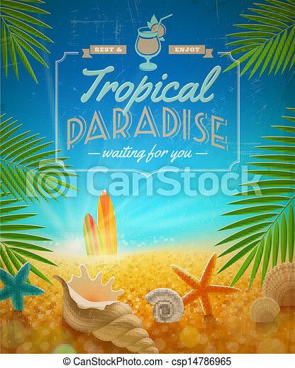 vacanza estate, vacanze, vettore, disegno, viaggiare - csp14786965