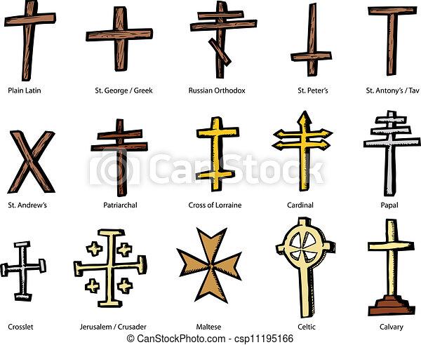 vario, progetta, cristiano, crocifisso - csp11195166