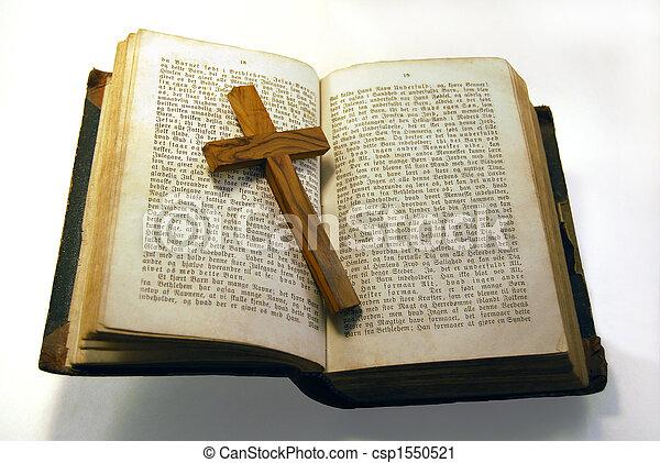 vecchio, bibbia, croce - csp1550521