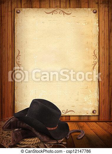 vecchio, cowboy, testo, carta, occidentale, fondo, vestiti - csp12147786