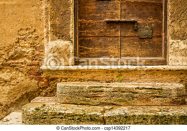 vecchio, medievale, parete legno, fondo, porta - csp14392217