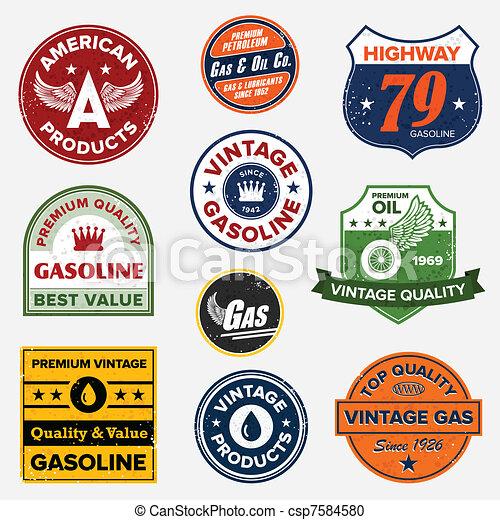 vendemmia, gas, retro, segni - csp7584580