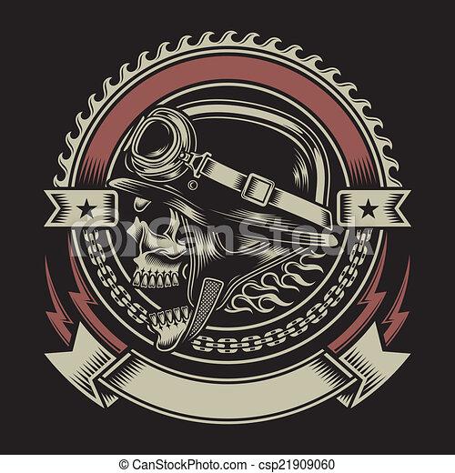 vendemmia, motociclista, emblema, cranio - csp21909060