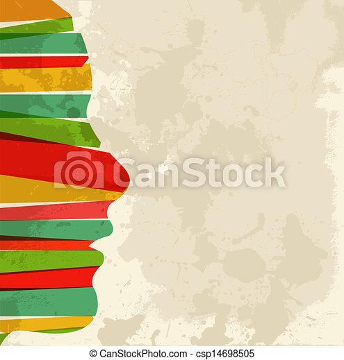 vendemmia, multicolor, donna, testa - csp14698505