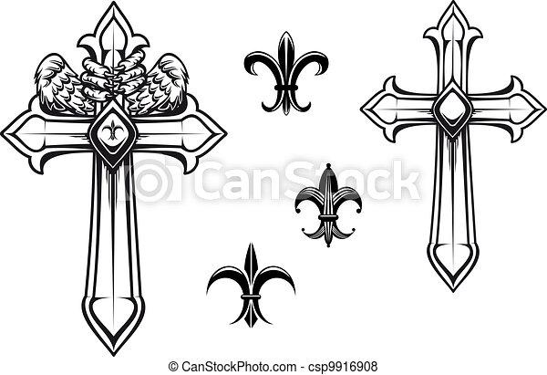 vendemmia, pietra, croce - csp9916908