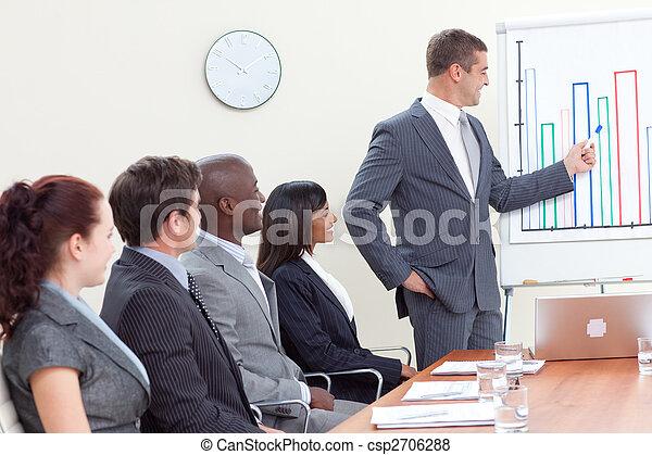 vendite, attraente, figure, uomo affari, segnalazione - csp2706288