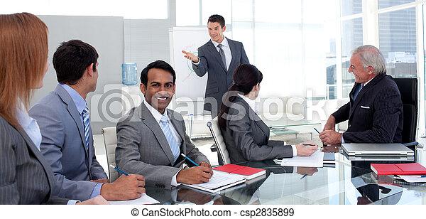 vendite uniscono, suo, figure, uomo affari, segnalazione - csp2835899
