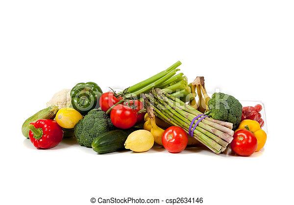 verdura, frutte, sfondo bianco, assortito - csp2634146