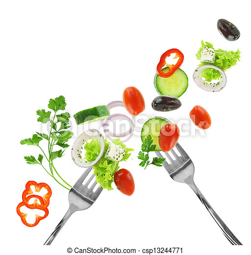 verdura, isolato, argento, mescolato, fresco, bianco, forche - csp13244771