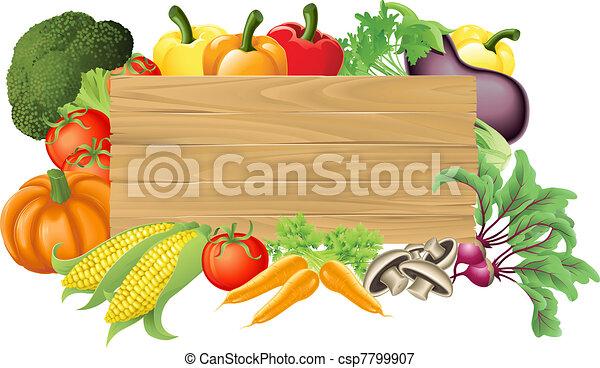 verdura, legno, illustrazione, segno - csp7799907