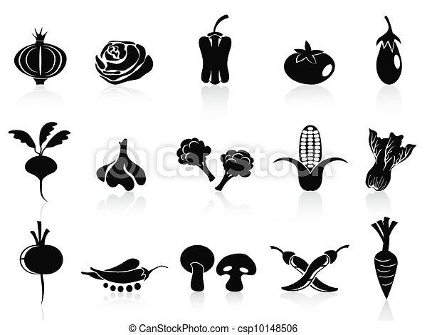 verdura, set, nero, icone - csp10148506