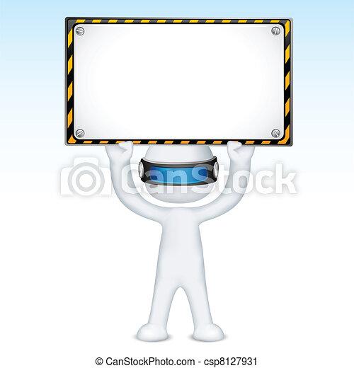 vettore, cartello, costruzione, sotto, uomo, 3d - csp8127931