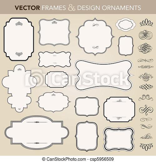 vettore, cornice, set, ornamento, ornare - csp5956509