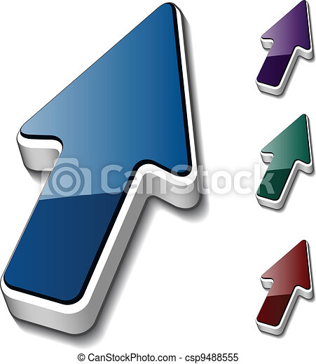 vettore, freccia, cursori, 3d - csp9488555