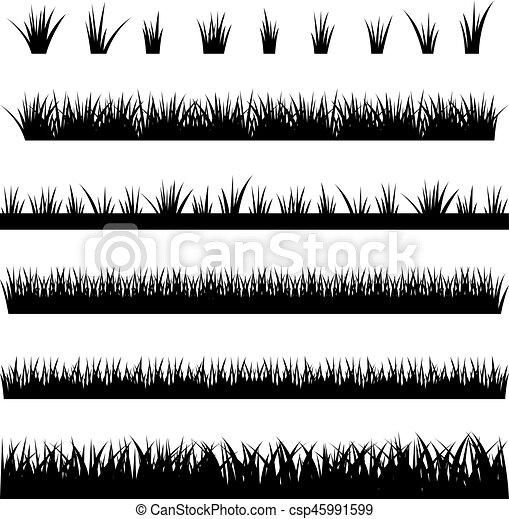 vettore, illustrazione, silhouette, fondo, collezione, bianco, erba - csp45991599
