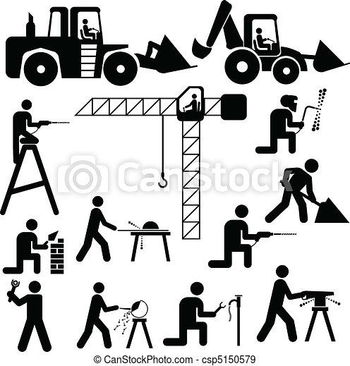 vettore, lavorativo, illustrazione, silhoue - csp5150579