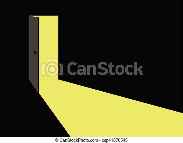 vettore, luce, door., aperto, illustration. - csp41870545