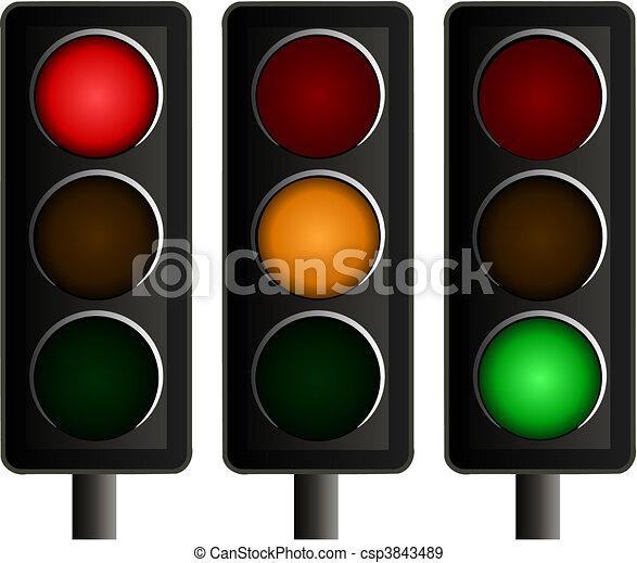vettore, luci, set, traffico, tre - csp3843489