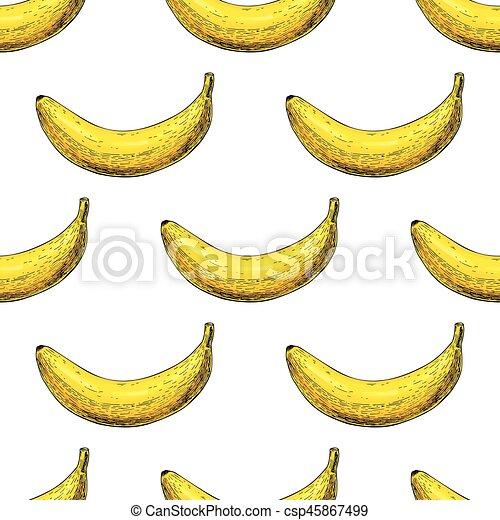 vettore, mano, wh, isolato, disegnato, oggetto, pattern., seamless, banana - csp45867499