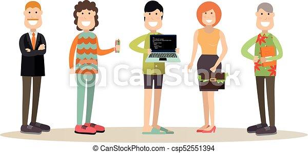 vettore, persone, stile, appartamento, illustrazione, squadra, creativo - csp52551394