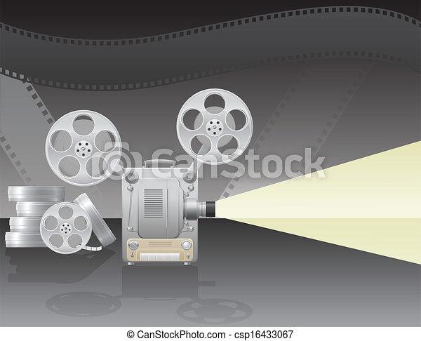 vettore, proiettore, illustrazione, cinema - csp16433067