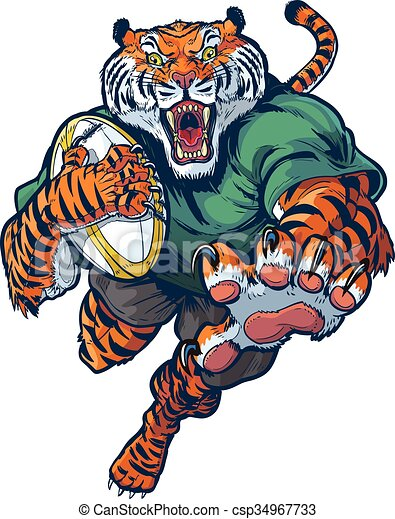 vettore, rugby, cartone animato, tiger, mascotte - csp34967733