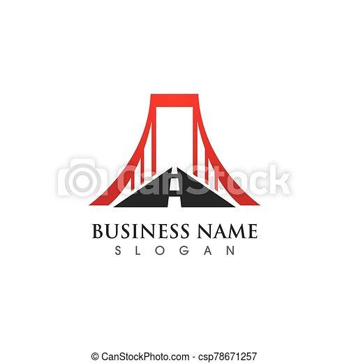 vettore, sagoma, logotipo, icona, ponte - csp78671257