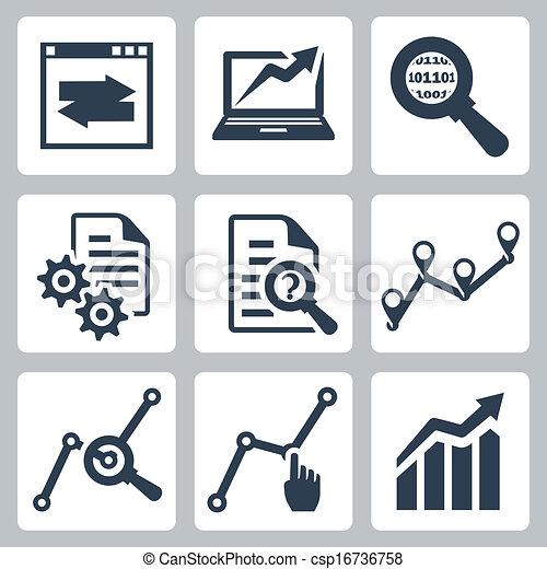 vettore, set, dati, analisi, icone - csp16736758