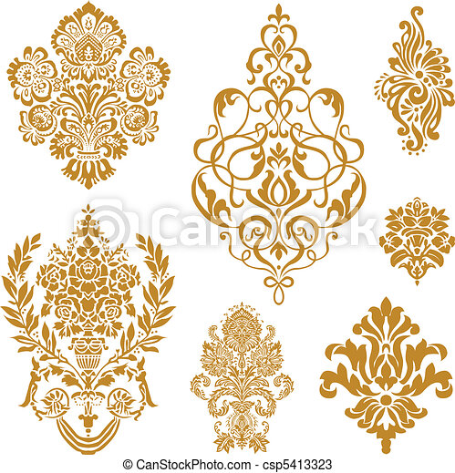 vettore, set, ornamento, oro, damasco - csp5413323