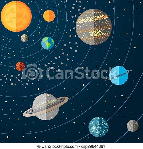 vettore, sistema solare, illustrazione, planets. - csp29644861