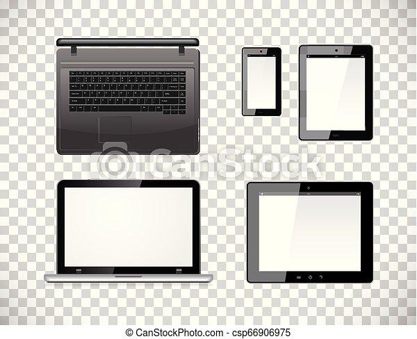 vettore, smartphone, computer, tavoletta, fondo., mobile, isolato, screen., pc, checkered, trasparenza, vuoto, laptop - csp66906975