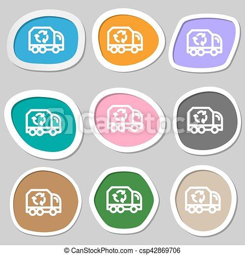 vettore, symbols., variopinto, carta, riciclare, stickers., icona - csp42869706