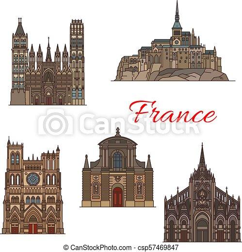 viaggiare, francia, disegno, punto di riferimento, turismo, icona - csp57469847