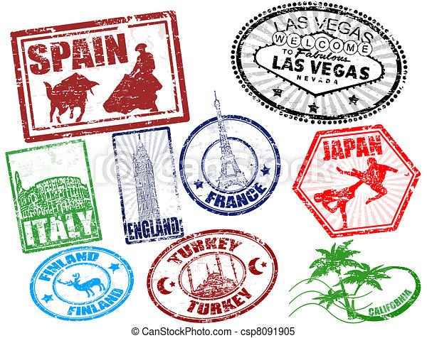viaggiare, francobolli - csp8091905