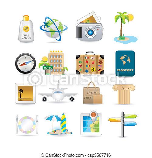 viaggiare, set, icona - csp3567716