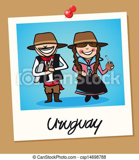 viaggiare, uruguay, polaroid, persone - csp14698788