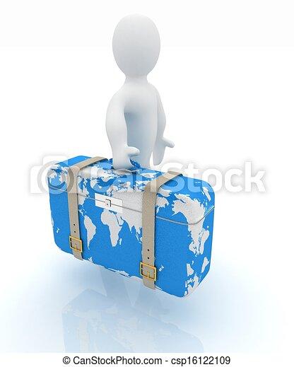 viaggiare, valigia, uomo, cuoio, 3d - csp16122109