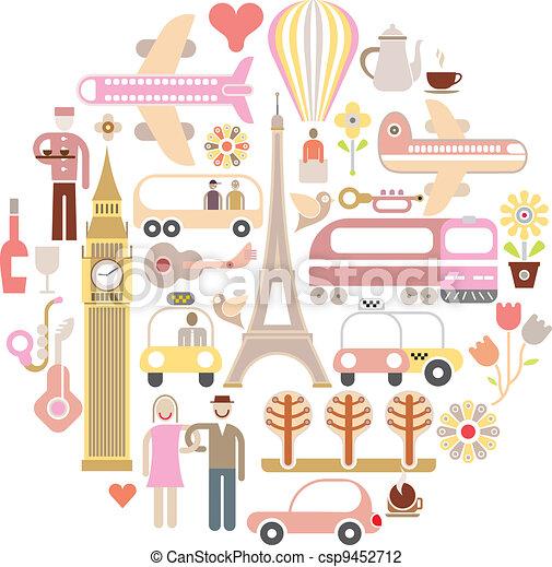 viaggiare, vettore, -, illustrazione - csp9452712