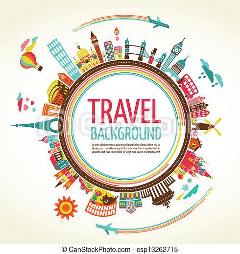 viaggiare, vettore, turismo, fondo - csp13262715
