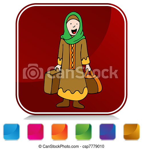 viaggiatore, ragazza, musulmano, set, bottone - csp7779010