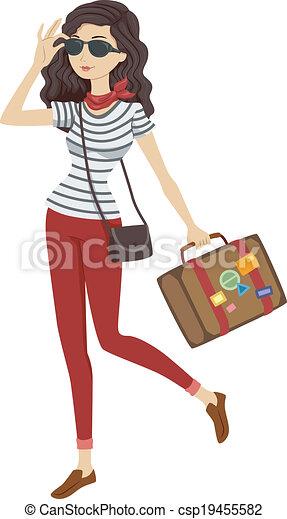 viaggiatore, ragazza - csp19455582