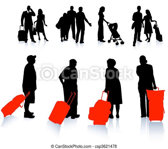 viaggiatore, silhouette, collezione - csp3621478