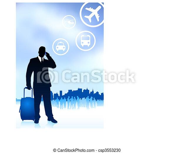 viaggiatore, skyline città, affari - csp3553230