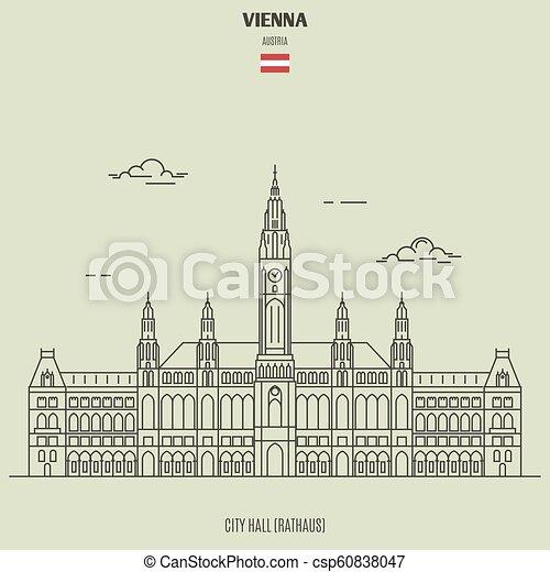 vienna, città, punto di riferimento, austria., salone, icona - csp60838047